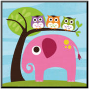 Elephant with Three Owls Print Wall Art