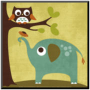 Owl and Elephant Print Wall Art