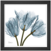 Tulips in Blue Framed Print Wall Art