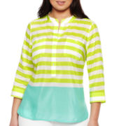 jcp™ Double-Pocket Popover Top - Plus