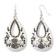Decree® Engraved Silver-Tone Teardrop Earrings