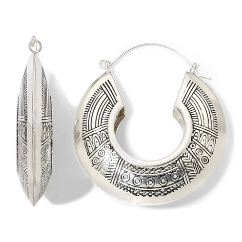 Decree® Tribal-Design Hoop Earrings