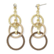Monet® Tri-Tone, Triple-Drop Circle Earrings