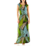 London Style Collection Cap-Sleeve Blouson Maxi Dress