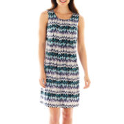 Perceptions Sleeveless Pleat-Front Print Dress
