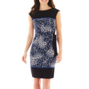R&K Originals® Cap-Sleeve Side-Tie Animal Print Sheath Dress