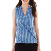 Liz Claiborne® Sleeveless Surplice Top - Tall