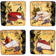 Wine & Cheese Party Set of 4 Earthenware Square Salad Plates