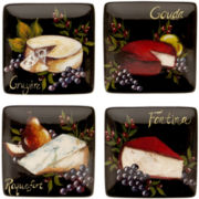 Wine & Cheese Party Set of 4 Earthenware Square Canapé Plates