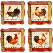 Certified International Tuscan Rooster Set of 4 Dinner Plates