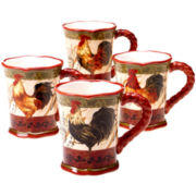 Certified International Tuscan Rooster Set of 4 Mugs