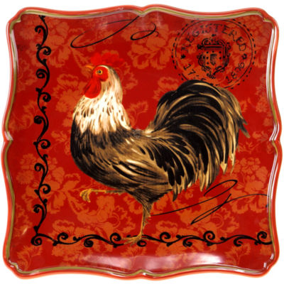 Certified International Tuscan Rooster Square Serving Platter
