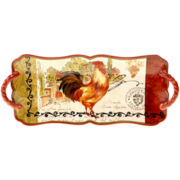 Tuscan Rooster Rectangular Platter with Handles