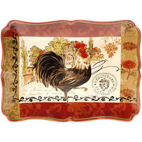 "Certified International Tuscan Rooster 16x12"" Rectangular Platter"