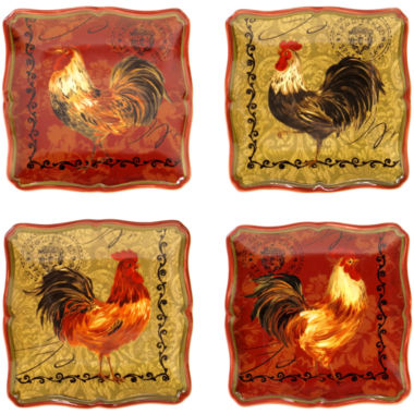 jcpenney.com | Certified International Tuscan Rooster Set of 4 Canapé Plates