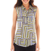 Liz Claiborne Sleeveless Button-Front Blouse - Tall
