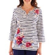 Alfred Dunner® Smooth Sailing Asymmetrical Striped Floral Top