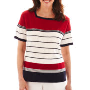Alfred Dunner® Smooth Sailing Short-Sleeve Striped Sweater
