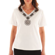 Alfred Dunner® St. Barth's Beaded-Yoke Top