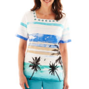 Alfred Dunner® St. Barth's Short-Sleeve Scenic Print Top