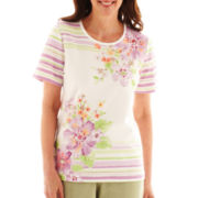 Alfred Dunner® Cape Cod Short-Sleeve Asymmetrical Striped Floral Top