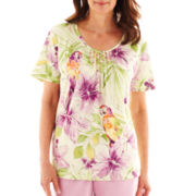 Alfred Dunner® Cape Cod Short-Sleeve Tropical Parrot Top - Petite