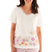 Alfred Dunner® Cape Cod Short-Sleeve Floral Appliqué Border Top - Petite