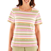 Alfred Dunner® Cape Cod Short-Sleeve Beaded Striped Top