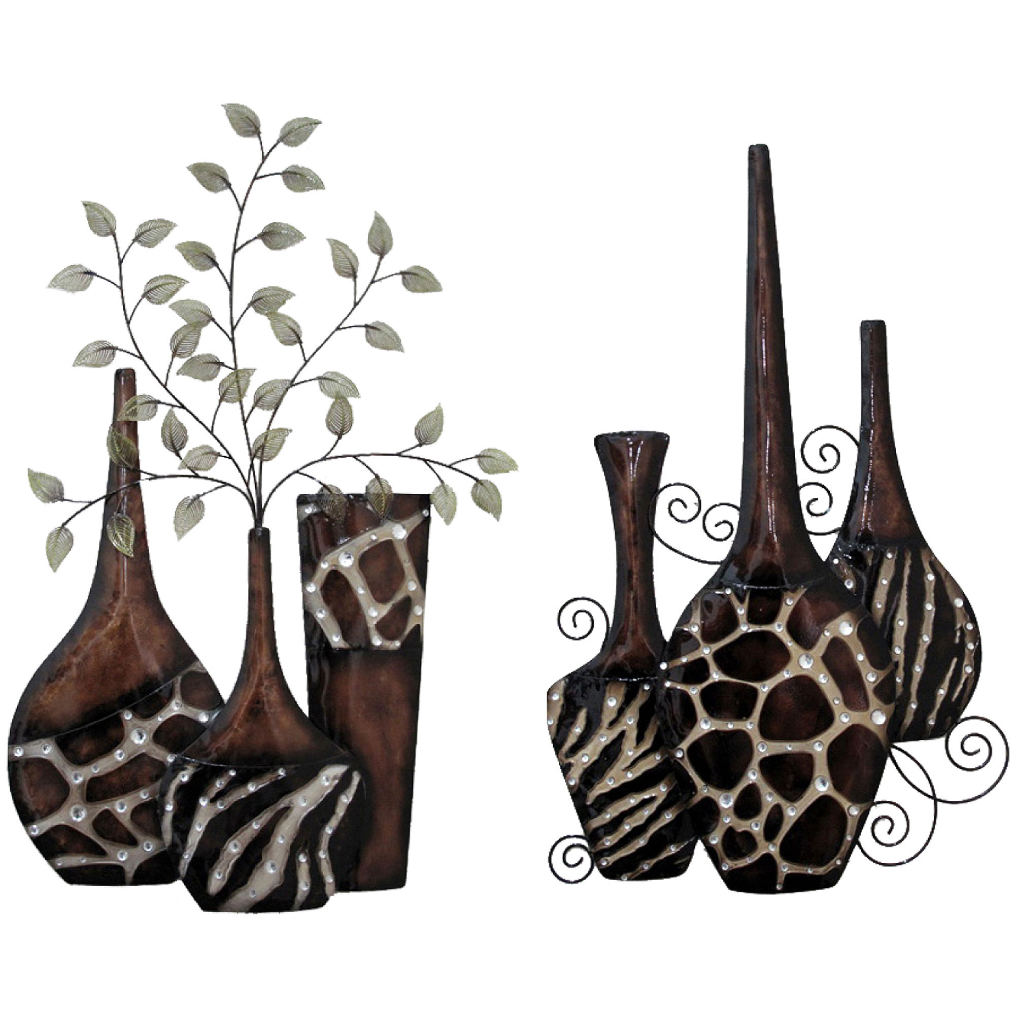 Upc 814461021876 set of 2 faux animal print vases wall decor upc 814461021876 product image for exotic vase metal wall decor upcitemdb reviewsmspy