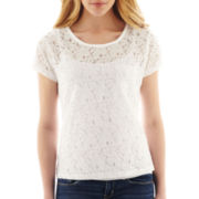 jcp™ Short-Sleeve Lace Tee - Petite