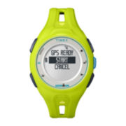 Timex® Ironman Run x20 GPS Mens Green Resin Digital Watch TW5K87500F5