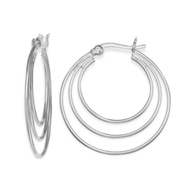 jcpenney.com | Silver-Plated Polished Triple-Hoop Earrings