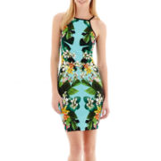 Bisou Bisou® Spaghetti Strap Floral Print Sheath Dress