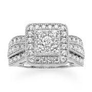 1 CT. T.W. Diamond 10K White Gold Square Milgrain Ring