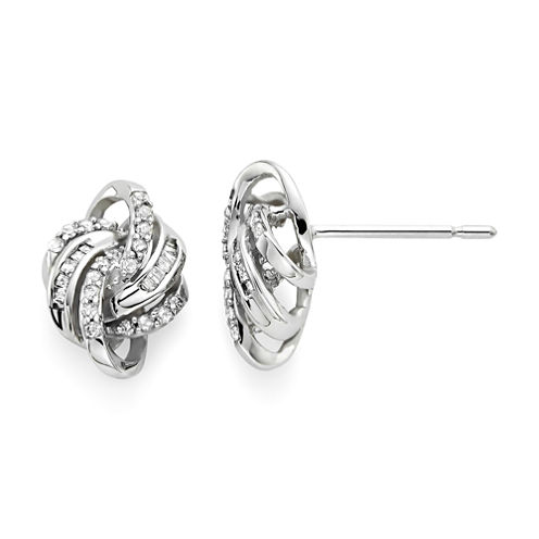 1/4 CT. T.W. Diamond 10K White Gold Love Knot Earrings
