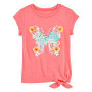 Arizona Graphic Glitter Tee - Preschool Girls 4-6x