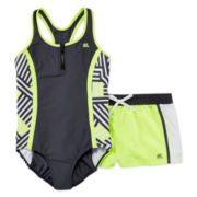 ZeroXposur® Jenga Swimsuit and Shorts Set - Girls Plus