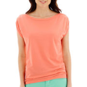 Stylus™ Cap-Sleeve Gathered-Shoulder T-Shirt