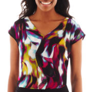 Worthington® Short-Sleeve Ruffle-Front Blouse - Tall