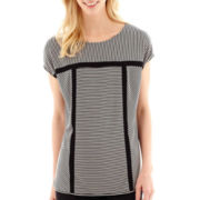 Worthington® Short-Sleeve Boxy Top with Insets - Tall