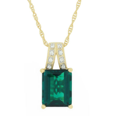 jcpenney.com | Lab-Created Emerald & Sapphire Pendant Necklace