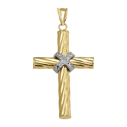 "Two-Tone 14K Gold Diamond-Cut ""X"" Cross Charm"