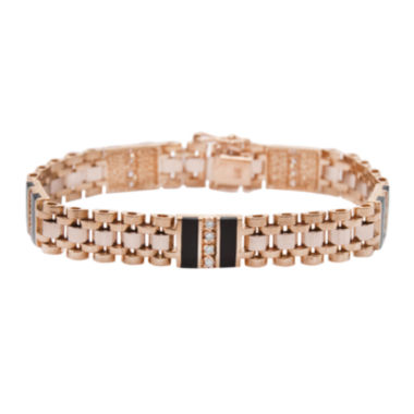 jcpenney.com | Mens 1/2 CT. T.W. Diamond & Onyx 14K Gold Link Bracelet