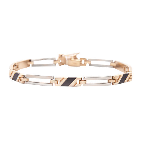 Mens 14K Two-Tone Gold with Onyx Bracelet