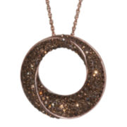 14K Rose Gold Over Sterling Silver Brown Crystal Circle Pendant Necklace