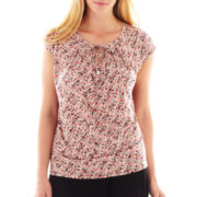 Liz Claiborne Short-Sleeve Pleated Tie-Front Top - Plus