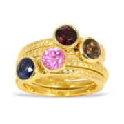 CLOSEOUT! Multi Gemstone 14K Gold Over Silver Hammered-Look Ring