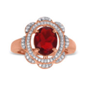 1/4 CT. T.W. Diamond and Lab-Created Ruby Pink Gold Over Silver Flower Ring