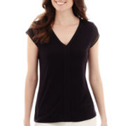 Liz Claiborne® Sheer Sleeve V-Neck T-Shirt