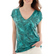 Liz Claiborne® Short-Sleeve V-Neck Fern T-Shirt